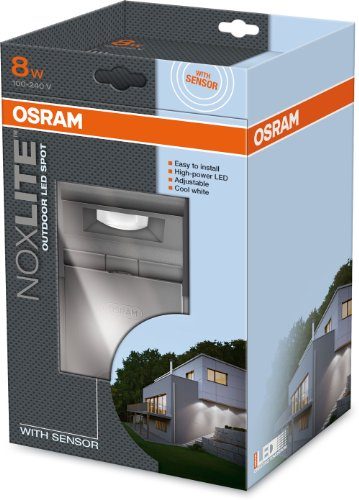 osram noxlite spot led au enlampe mit bewegungsmelder und d mmerungssensor k hlk rper aus. Black Bedroom Furniture Sets. Home Design Ideas